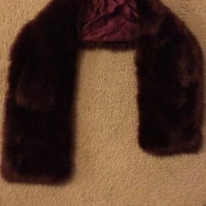 Fur scarf red faux maroon